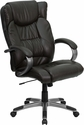 High Back Espresso Brown Leather Executive Swivel Chair with Arms