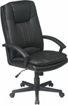 Work Smart High Back Executive Eco Leather Chair - Black [EC22070-EC3-FS-OS]