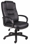High Back Executive Leather Chair with Padded Armrests - Black [B7501-FS-BOSS]