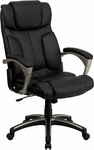 High Back Folding Black Leather Executive Swivel Chair with Arms [BT-9875H-GG]