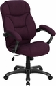 High Back Grape Microfiber Contemporary Executive Swivel Chair with Arms