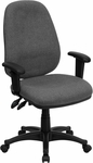 High Back Gray Fabric Executive Swivel Chair with Adjustable Arms [BT-661-GR-GG]
