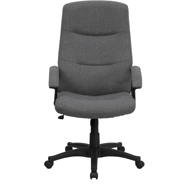 High Back Gray Fabric Executive Swivel Chair with Arms BT 134A GY