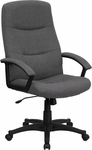 High Back Gray Fabric Executive Swivel Chair with Arms [BT-134A-GY-GG]