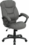 High Back Gray Microfiber Contemporary Executive Swivel Chair with Arms [GO-725-GY-GG]