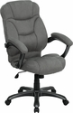 High Back Gray Microfiber Contemporary Executive Swivel Chair with Arms