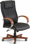 Apex Leather Executive High-Back Chair with Cherry Finish - Black [560-L-CHERRY-FS-MFO]