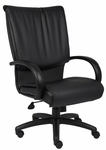 High Back LeatherPLUS Executive Chair with Padded Chrome Armrests - Black [B9701-FS-BOSS]