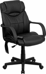 High Back Massaging Black Leather Executive Swivel Chair with Arms [BT-2690P-GG]