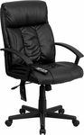 High Back Massaging Black Leather Executive Swivel Chair with Arms [BT-9578P-GG]