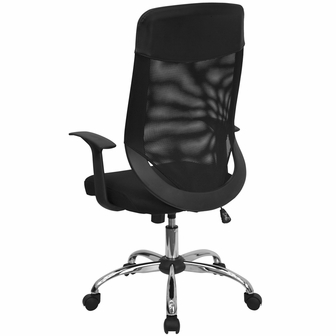 high back black mesh executive swivel chair with arms, lf-w952-gg