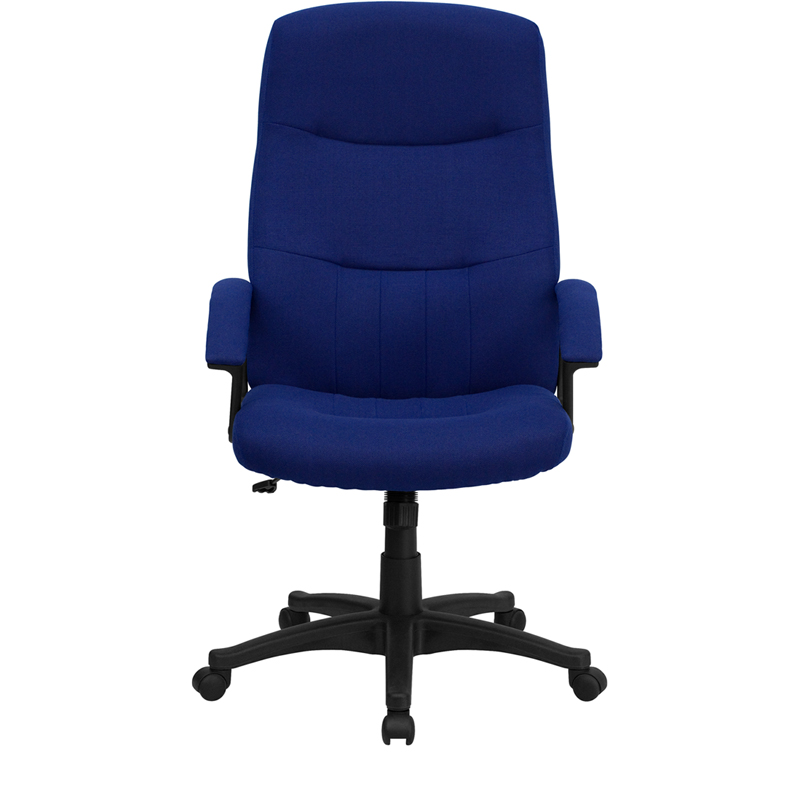 high back navy blue fabric executive swivel chair with arms, bt