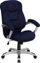 High Back Navy Blue Microfiber Contemporary Executive Swivel Chair with Arms