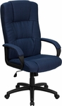 High Back Navy Blue Fabric Executive Swivel Chair with Arms [BT-9022-BL-GG]