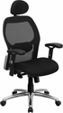 High Back Black Super Mesh Executive Swivel Chair with Knee Tilt Control and Adjustable Arms