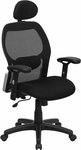 High Back Black Super Mesh Executive Swivel Chair with Adjustable Arms [LF-W42B-HR-GG]