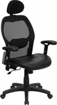 High Back Black Super Mesh Executive Swivel Chair with Leather Seat and Adjustable Arms [LF-W42B-L-HR-GG]