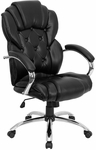 High Back Transitional Style Black Leather Executive Swivel Chair with Arms [GO-908A-BK-GG]