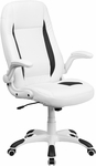 High Back White Leather Executive Swivel Chair with Flip-Up Arms [CH-CX0176H06-WH-GG]