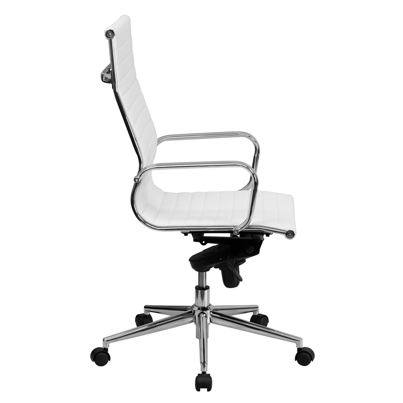 High Back White Ribbed Leather Executive Swivel Chair with Knee ...