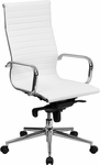 High Back White Ribbed Leather Executive Swivel Chair with Knee-Tilt Control and Arms [BT-9826H-WH-GG]
