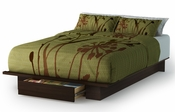 Holland Collection Full/Queen Platform Bed (54/60'') with Drawer Mocha