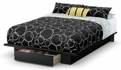 Holland Collection Full/Queen Platform Bed (54/60'') with Drawer Pure Black