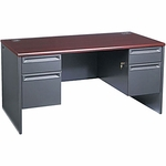 The HON Company 38000 Series Contemporary Double Pedestal Desk in Mahogany & Charcoal Finish [HON38155NS-FS-SP]