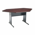 The HON Company 66000 Series Contemporary StationMaster Corner Desk in Mahogany & Charcoal Finish [HON66282NS-FS-SP]