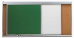 Horizontal Sliding 3 Track Unit with 3 Green Porcelain Chalkboard Panels - 48''H x 144''W [HSU412-3C-AA]