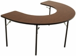 Horseshoe Folding Adjustable Height Feeding and Activity Table - 48''W x 72''D x 26''H - 34''H [AF6001-AMTB]