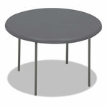 Iceberg IndestrucTables Too 1200 Series Resin Folding Table - 48 dia x 29h - Charcoal [ICE65247-FS-NAT]