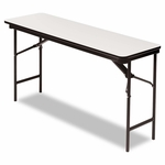 Iceberg Premium Wood Laminate Folding Table - Rectangular - 60w x 18d x 29h - Gray/Charcoal [ICE55277-FS-NAT]