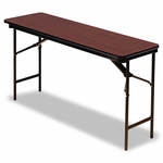 Iceberg Premium Wood Laminate Folding Table - Rectangular - 60w x 18d x 29h - Mahogany [ICE55274-FS-NAT]