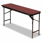 Iceberg Premium Wood Laminate Folding Table - Rectangular - 72w x 18d x 29h - Mahogany [ICE55284-FS-NAT]