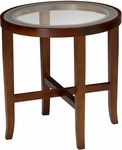 Illusion 22'' Round End Table - Glass Tops with Bourbon Cherry Base [M106RSCR-FS-MAY]