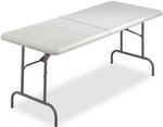 IndestrucTABLE TOO 30'' W x 60'' D Bi-Fold Rectangular Folding Table - Platinum [65453-ICE]