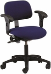 Industrial Cloth ABS Base Task Chair with Dual Wheel Casters and Adjustable Armrests [CT-1-EAA-C-FS-BRWD]