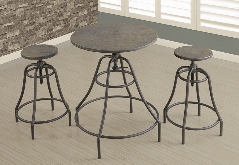 Industrial Design 3 Piece Height Adjustable Dining Set