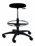 Industrial Round Black Polyurethane ABS Base Stool with Dual Wheel Casters and Footring [PR-3-C-FS-BRWD]