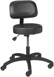 Industrial Round Vinyl ABS Base Stool with Aseptic Shroud Backrest and Dual Wheel Casters [VRB-1-C-FS-BRWD]