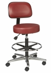 Industrial Round Vinyl Cast Aluminum Base Stool with Aseptic Shroud Backrest,  Dual Wheel Casters,  and Footring [VRBM-3-C-FS-BRWD]
