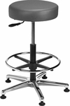 Industrial Round Vinyl Cast Aluminum Base Stool with Glides and Footring [VRM-3-FS-BRWD]