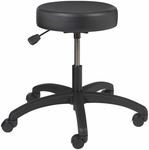 Industrial Round Vinyl Stool with ABS Base and Dual Wheel Casters [VR-1-C-FS-BRWD]