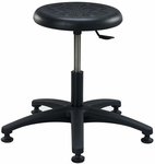 Industrial Round Black Polyurethane Stool with ABS Base and Glides [PR-1-FS-BRWD]