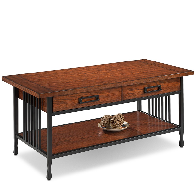 Ironcraft 46 39 39 W X 20 39 39 H Solid Wood And Metal Mission Style Coffee Table With Two Drawers