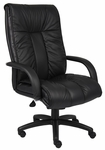 Italian Leather High Back Executive Chair with Armrests - Black [B9301-FS-BOSS]