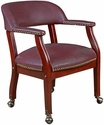 Ivy League 31''H Traditional Captains Chair with Casters - Burgundy Vinyl