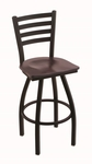 Jackie 25'' Black Wrinkle Finish Counter Height Swivel Stool with Dark Cherry Maple Wood Seat [41025BWDCMPL-FS-HOB]