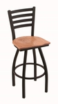Jackie 25'' Black Wrinkle Finish Counter Height Swivel Stool with Medium Oak Wood Seat [41025BWMEDOAK-FS-HOB]